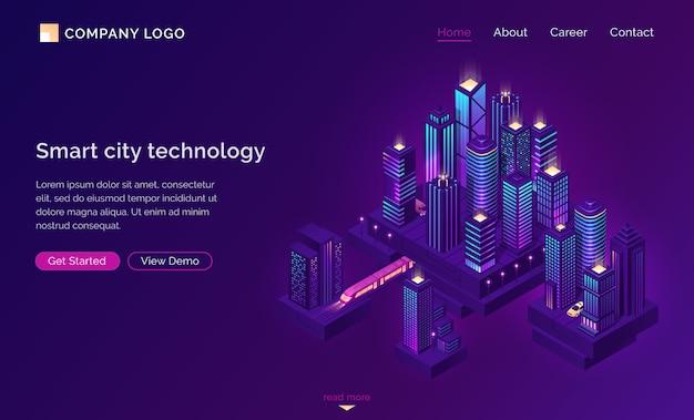 Smart city technologie mit isometrischer stadt