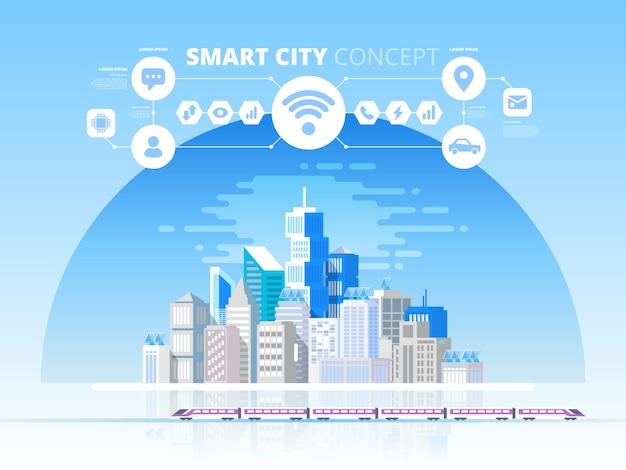 Smart city und drahtloses kommunikationsnetz. moderne stadt mit zukunftstechnologie. designkonzept mit symbolen
