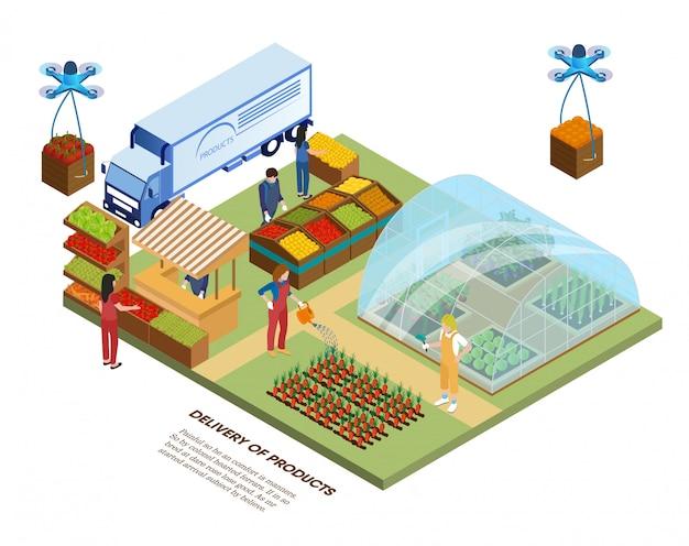 Smart eco farm, gewächshaus und produktlieferung.