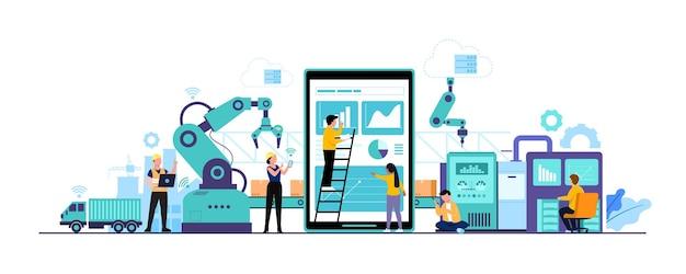 Smart factory und arbeitende person, die drahtlose technologie zur steuerung verwendet