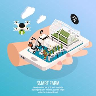 Smart farm auf hand zusammensetzung gesetzt mit technologie isometrischen vektor-illustration