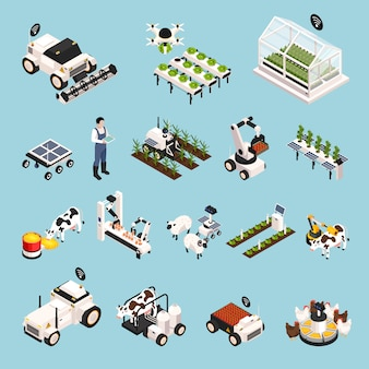 Smart farm set mit technologie isometrischen ikonen isoliert vektor-illustration