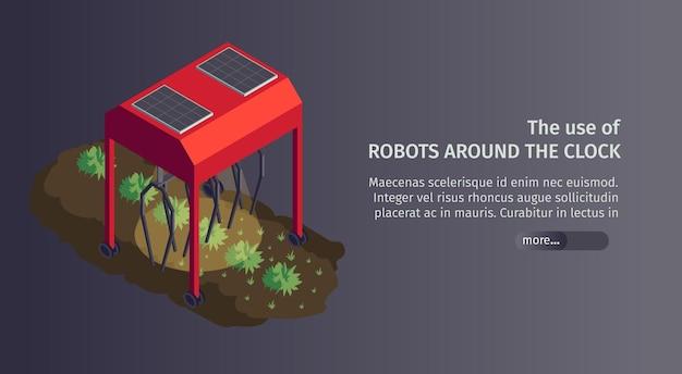 Smart farm web banner mit roboter pflanzstation