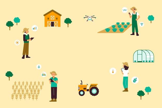 Smart farming community präzisionslandwirtschaft vektorhintergrund