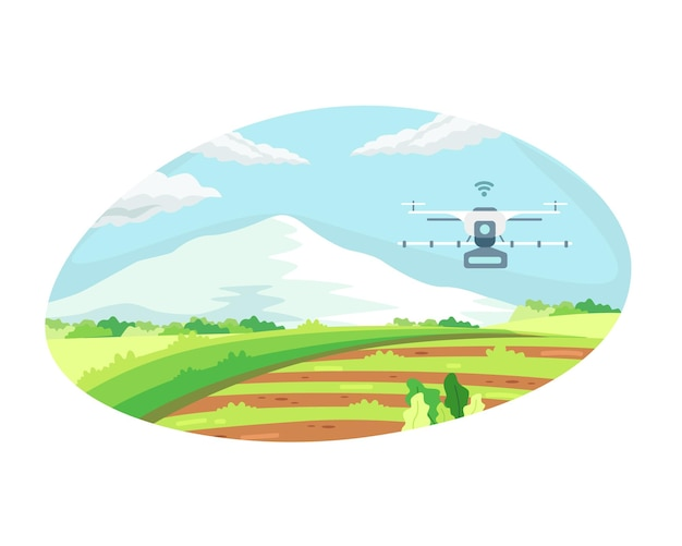 Smart farming-technologie mit bewässerungsdrohne. konzept der landwirtschaftstechnologie und intelligenter farm, landwirtschaftliche automatisierung mit drohnensteuerung. vektorillustration in einem flachen stil