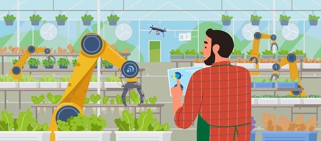 Smart greenhouse und farming farmer holding tablet verwalten des gewächshauses