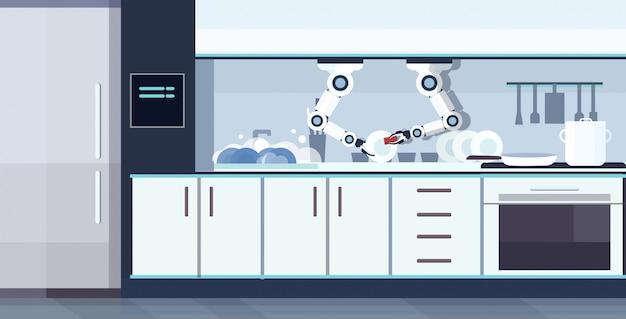 Smart handy chef roboter geschirr spülen roboter assistent innovation technologie künstliche intelligenz konzept moderne küche interieur horizontal
