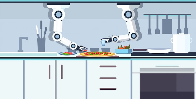 Smart handy chef roboter vorbereitung leckere pizza roboter assistent innovationstechnologie künstliche intelligenz konzept moderne küche interieur horizontal