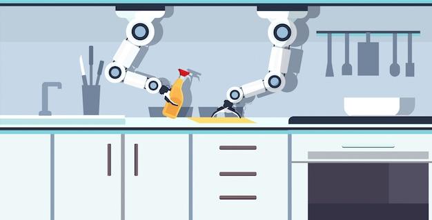 Smart handy chef roboter waschen schneidebrett roboter assistent innovationstechnologie künstliche intelligenz konzept moderne küche interieur horizontal