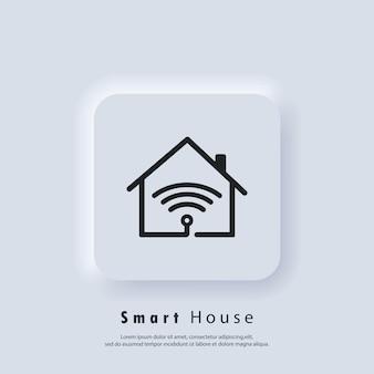 Smart-haus-logo. smart-haus-symbol. heimautomatisierung. das konzept eines heimsystems mit drahtloser zentraler steuerung. vektor. ui-symbol. neumorphic ui ux weiße benutzeroberfläche web-schaltfläche. neumorphismus