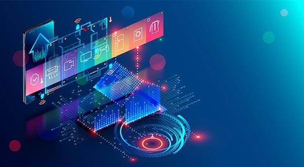 Smart home, app der automatisierung internet der dinge des geistigen hauses