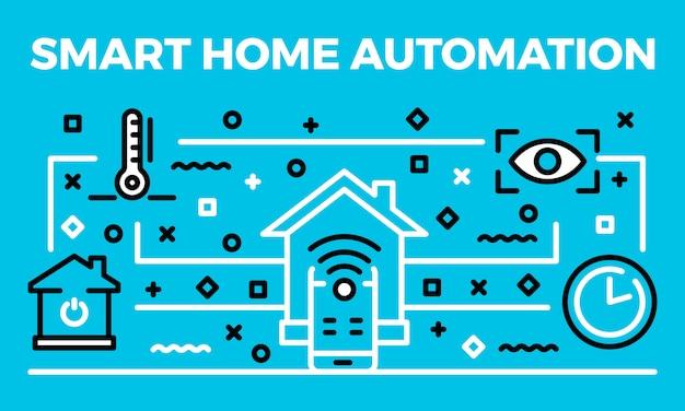 Smart home automation banner, umriss-stil