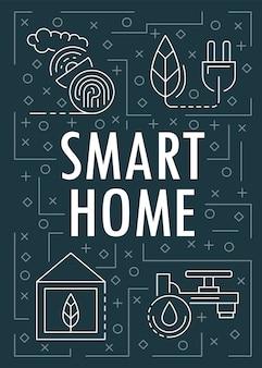 Smart home banner, umriss-stil
