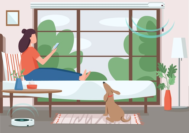 Smart home control flache farbe. mädchen, das automatisierte jalousie und staubsauger steuert. internet der dinge. frau mit smartphone 2d-zeichentrickfigur mit schlafzimmer auf hintergrund
