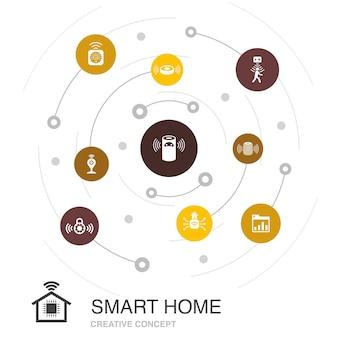 Smart home farbiges kreiskonzept mit einfachen symbolen. enthält elemente wie bewegungssensor, dashboard, smart assistant, roboterstaubsauger