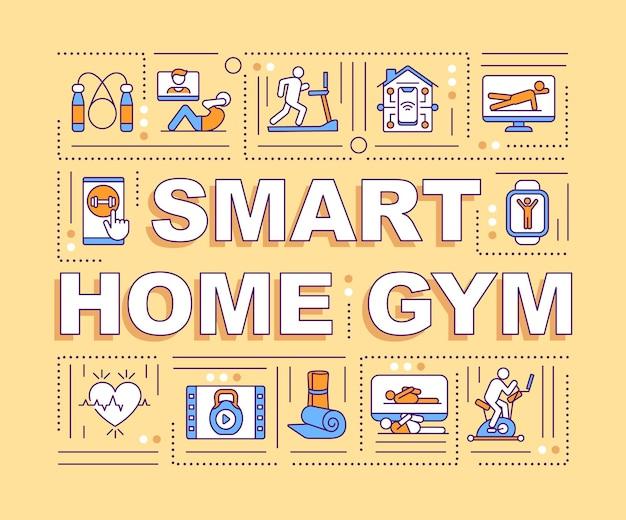 Smart home gym wort konzepte banner. spezielle geräte für das körpertraining. infografiken mit linearen symbolen auf gelbem hintergrund. isolierte typografie. umriss rgb farbabbildung