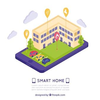 Smart home hintergrund mit smartphone-steuerung