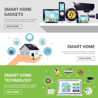 Smart home horizontal banner set