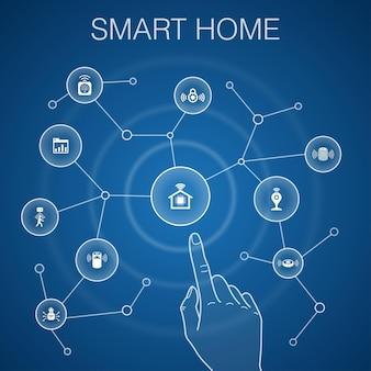 Smart home-konzept, blauer hintergrund. bewegungssensor, armaturenbrett, intelligenter assistent, roboterstaubsauger-symbole