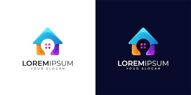 Smart home logo design set