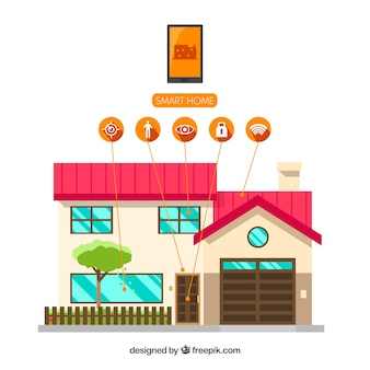 Smart home mit funktionen in flachen stil