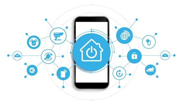 Smart home mit smartphone-schnittstellensymbolen im rauminneren. konzeptsteuerung und moderne technologie auf einem virtuellen bildschirm, benutzer, der eine taste berührt. vektor-design.