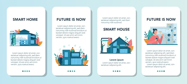 Smart home mobile application banner set. idee der drahtlosen technologie und automatisierung. elektronische sicherheit und licht. digitale innovation. vektorillustration im karikaturstil