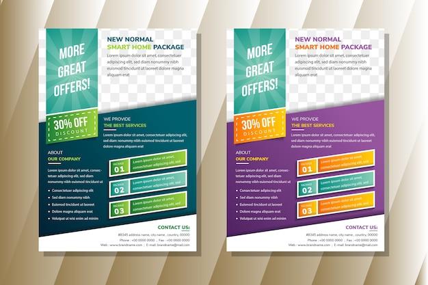 Smart home paket flyer vorlage design verwenden diagonale formelement infografik. blauer und violetter farbverlauf. platz für foto oben.