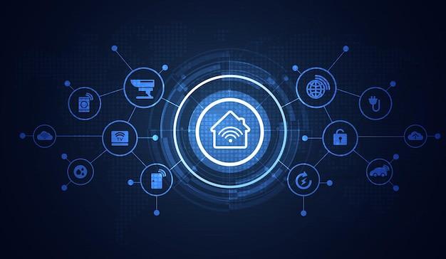 Smart-home-schnittstellensymbole im rauminneren. konzeptsteuerung und moderne technologie auf einem virtuellen bildschirm, benutzer, der eine taste berührt. vektor-design.