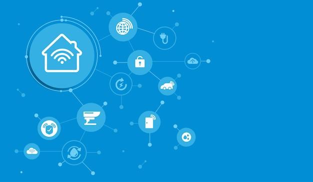 Smart-home-schnittstellensymbole im rauminneren konzeptsteuerung und moderne technologie auf einem virtuellen