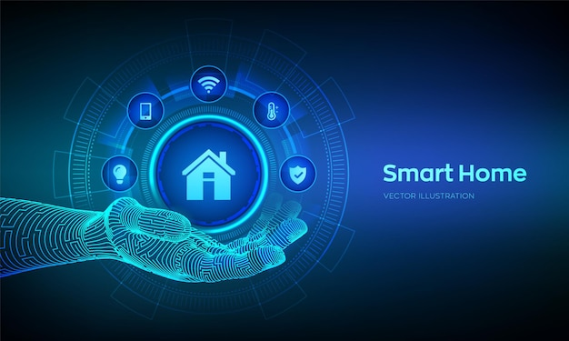 Smart-home-symbol in der roboterhand konzept des automatisierungssteuerungssystems futuristische schnittstelle des smart-home-automatisierungsassistenten auf einem virtuellen bildschirm