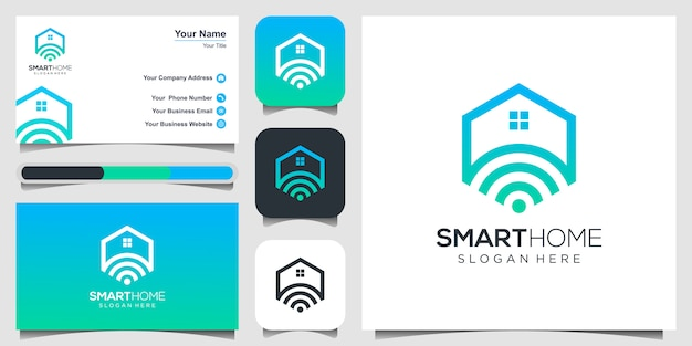 Smart home tech logo und visitenkarte