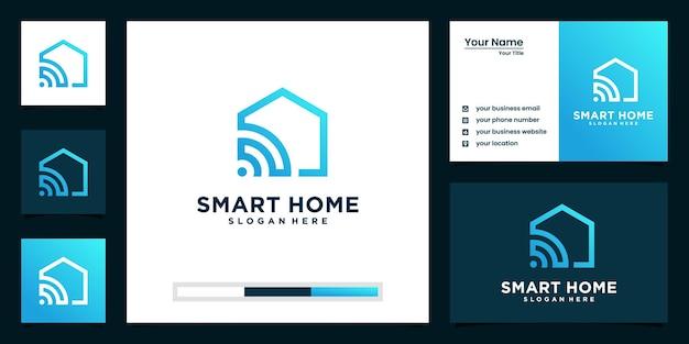 Smart home tech-logo und visitenkarten-design