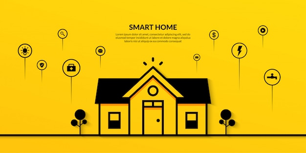 Smart home-technologie mit mehreren gliederungsbanner