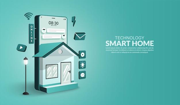 Smart home-technologiekonzept gerät gesteuert vom hausautomationssystem internet der dinge