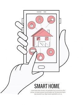 Smart home technology system mit zentraler steuerung von beleuchtung, heizung, lüftung und klimatisierung, sicherheit und videoüberwachung. dünne linie flache design. vektor-illustration