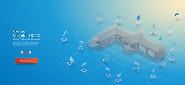 Smart home, tolles design für jeden zweck. smart home mit isometrischem konzept des internets der dinge. smart city technologie
