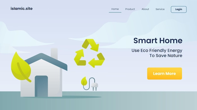 Smart home verwendet saubere energie, um die natur für die landing-homepage der website-vorlage zu retten, flach isolierte hintergrundvektor-designillustration