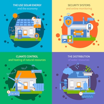 Smart house farbiges icon set
