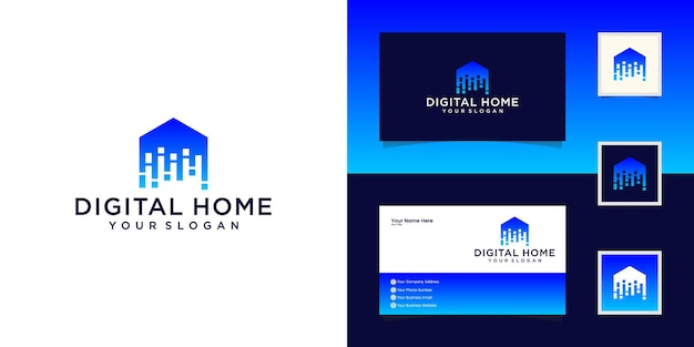 Smart house logo design vorlage. vektorzeichen bauen. digitale elektronische heimtechnologie und visitenkarte