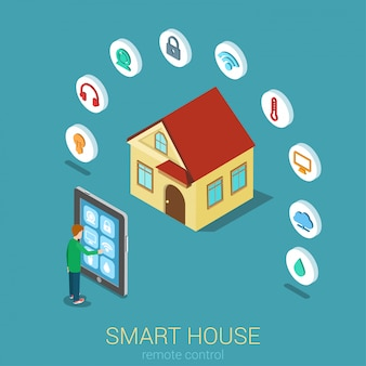 Smart house remote moderne technologie steuerungskonzept man touch tablet verwalten indikator überwachungskamera temperatur klima luftfeuchtigkeit wasser flach isometrisch.