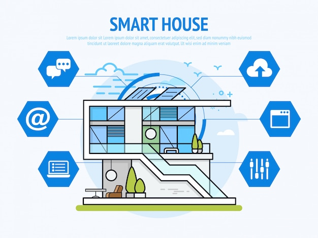 Smart house-technologie des hausautomationskonzepts