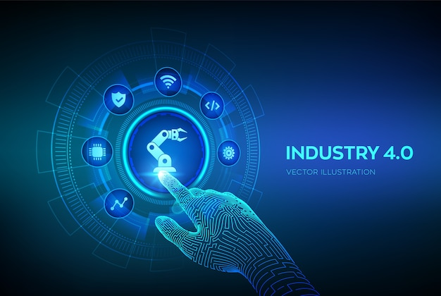 Smart industry 4.0-konzept. fabrikautomation. roboterhand, die digitale schnittstelle berührt.