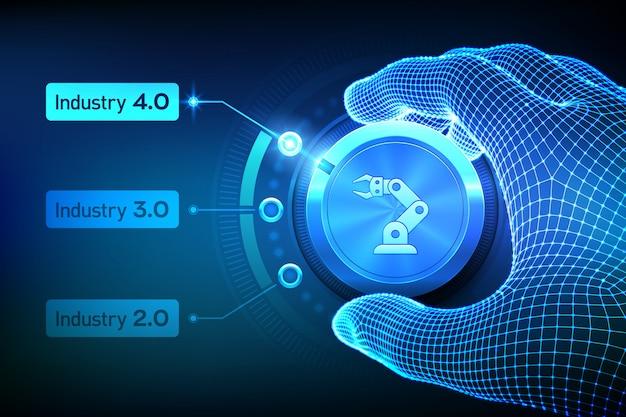 Smart industry 4.0-konzept. schritte der industriellen revolutionen. drahtgitterhand, die einen knopf dreht und den industrie 4.0-modus auswählt.