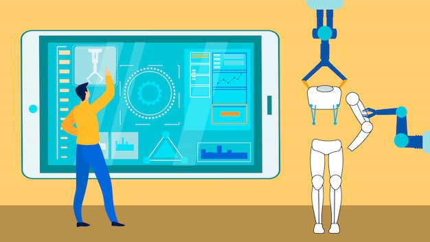 Smart industry expert bei der arbeit flat illustration