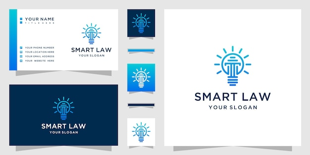 Smart law logo mit einer kombination aus säulen- und glühbirnenlogo im strichgrafikstil