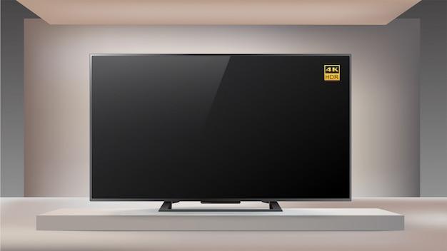 Smart led 4k-fernseher der nächsten generation im beleuchteten studiohintergrund