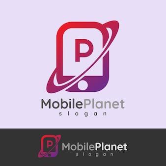 Smart mobile anfangsbuchstaben p logo design