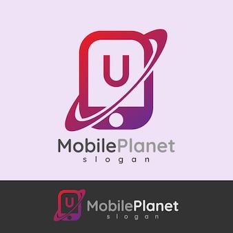 Smart mobile anfangsbuchstaben u logo design