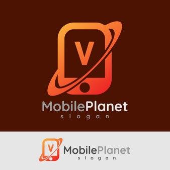 Smart mobile anfangsbuchstaben v logo design
